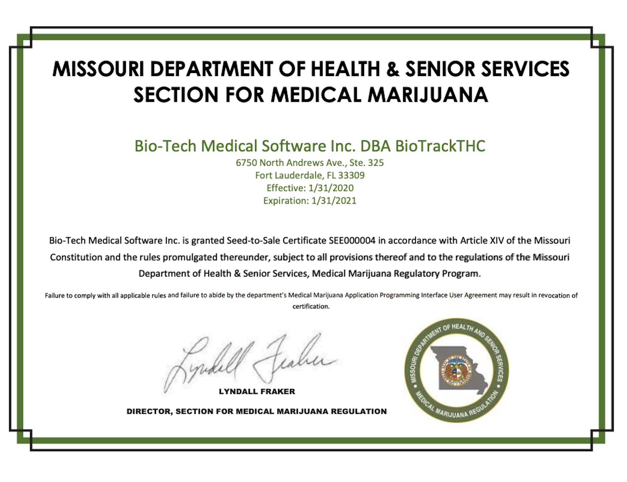 Missouri Seed to Sale Facility License Certificate BioTrack